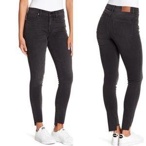 "Madewell 9"" High Rise Step Hem Skinny Jeans Black"